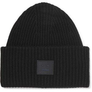 Acne Studios Black Pansy Face Ribbed Wool Beanie